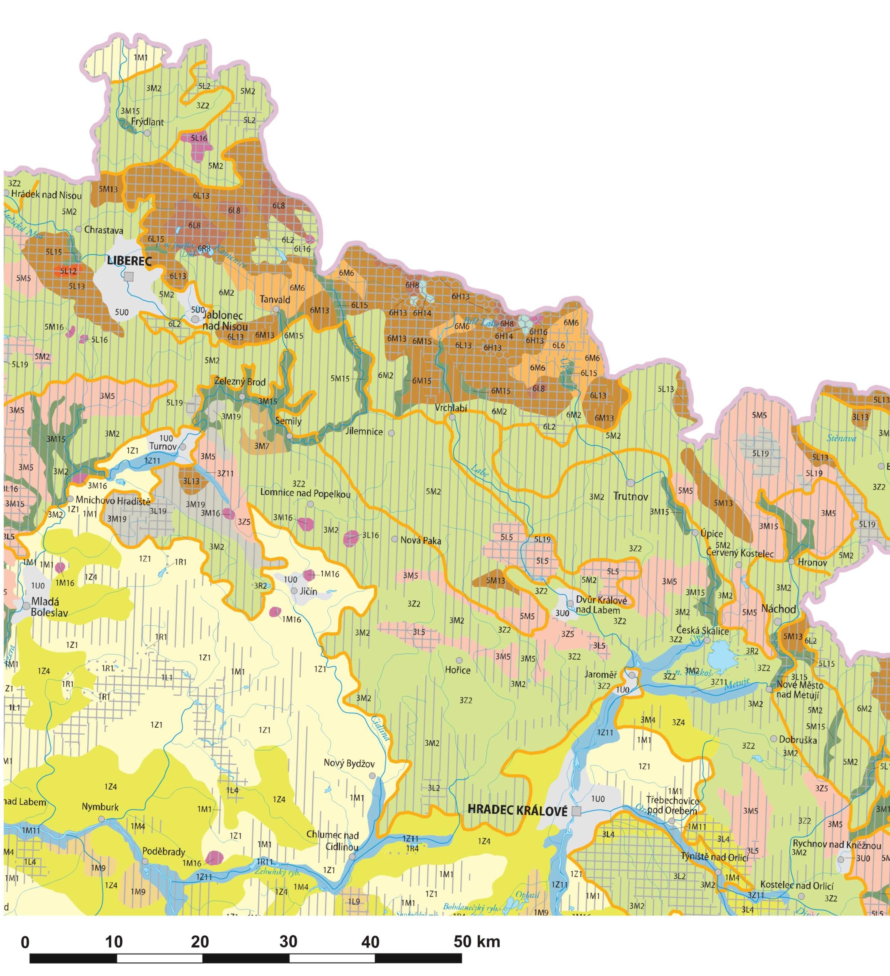 Ryc. 1. Mapa charakteru krajobrazu Republiki Czeskiej (północny fragment kraju) Żródło: Low J., Culek M., Hartl P, Novák J. (Hrnčiarová, Mackovčin, Zvara 2010 s. 198)