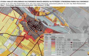 Fragment mapy 1. Chronologia obszarów zainwestowanych i sieci drożnej - Studium krajobrazu kulturowego Brzeg
