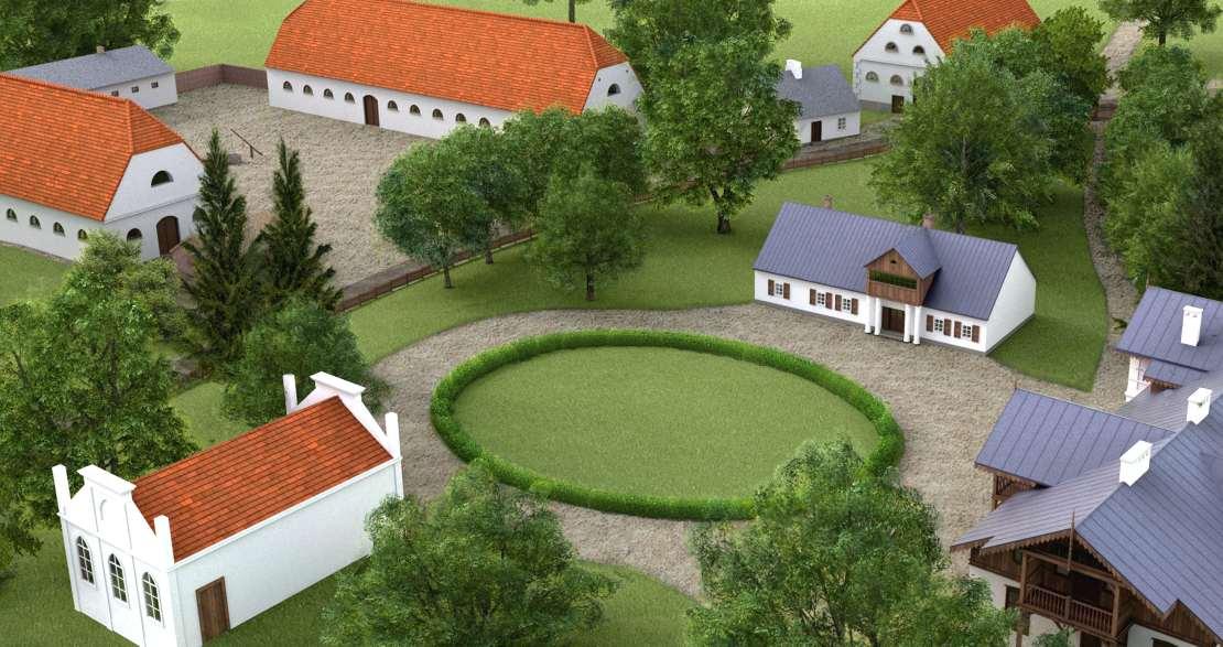 Wirtualna rekonstrukcja zabudowy majątku w Kłóbce