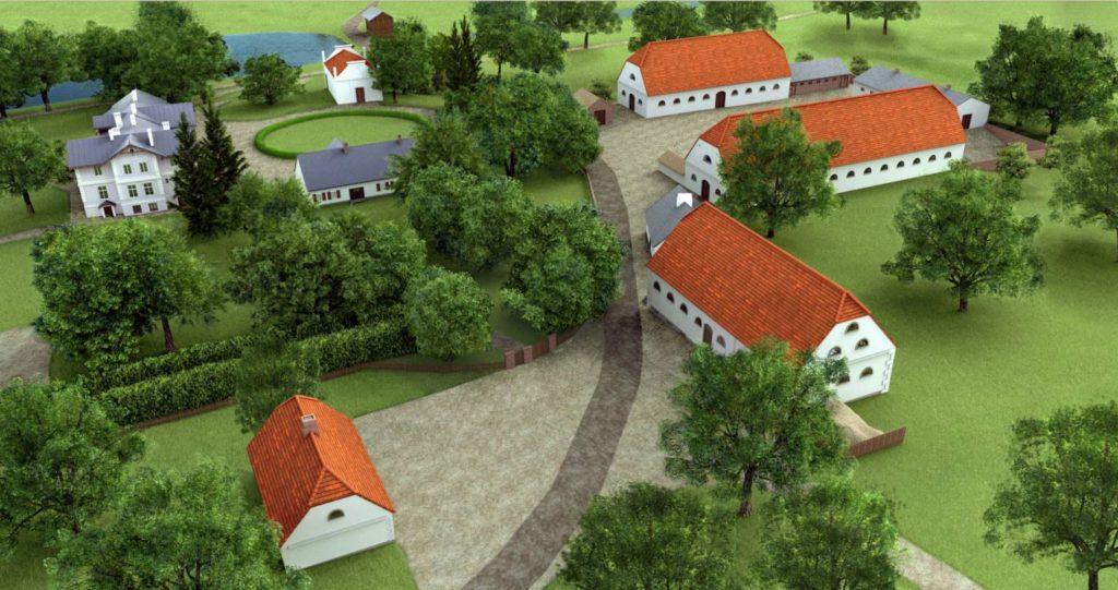 wirtualna rekonstrukcja zabudowy w Kłóbce