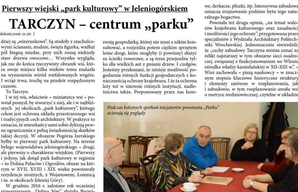 Zdjęcie: Projekt parku kulturowego w Tarczynie. Informacje w mediach