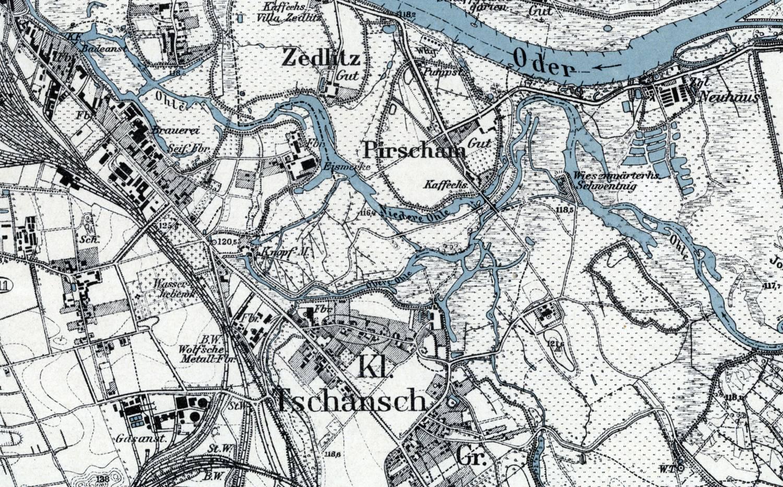 Fragment mapy topograficznej Messtischblatt - Breslau (Sued) ark. 4968 (2892) z 1921 roku obrazujący ukształtowanie terenu oraz sposób użytkowania obszar południowo-wschodnich przedmieść Wrocławia