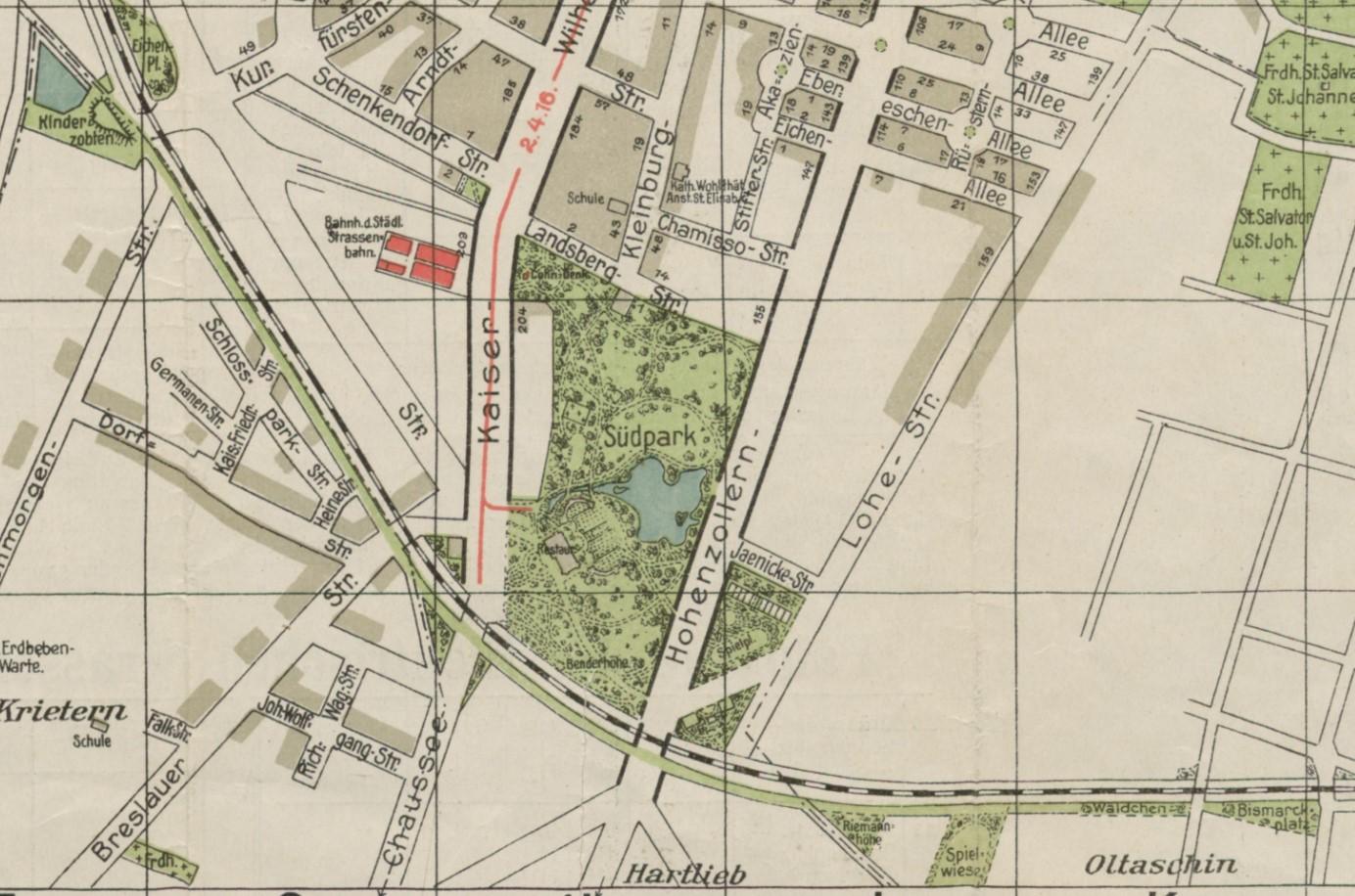 Fragment planu Wrocławia z 1913