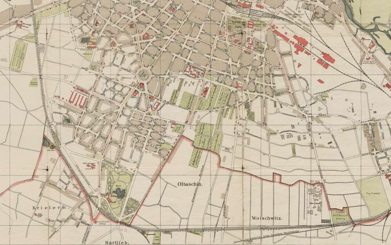 Fragment planu Wrocławia stanowiącego załącznik do książki adresowej w skali 1:10 000 z ok.1913-1920 r.