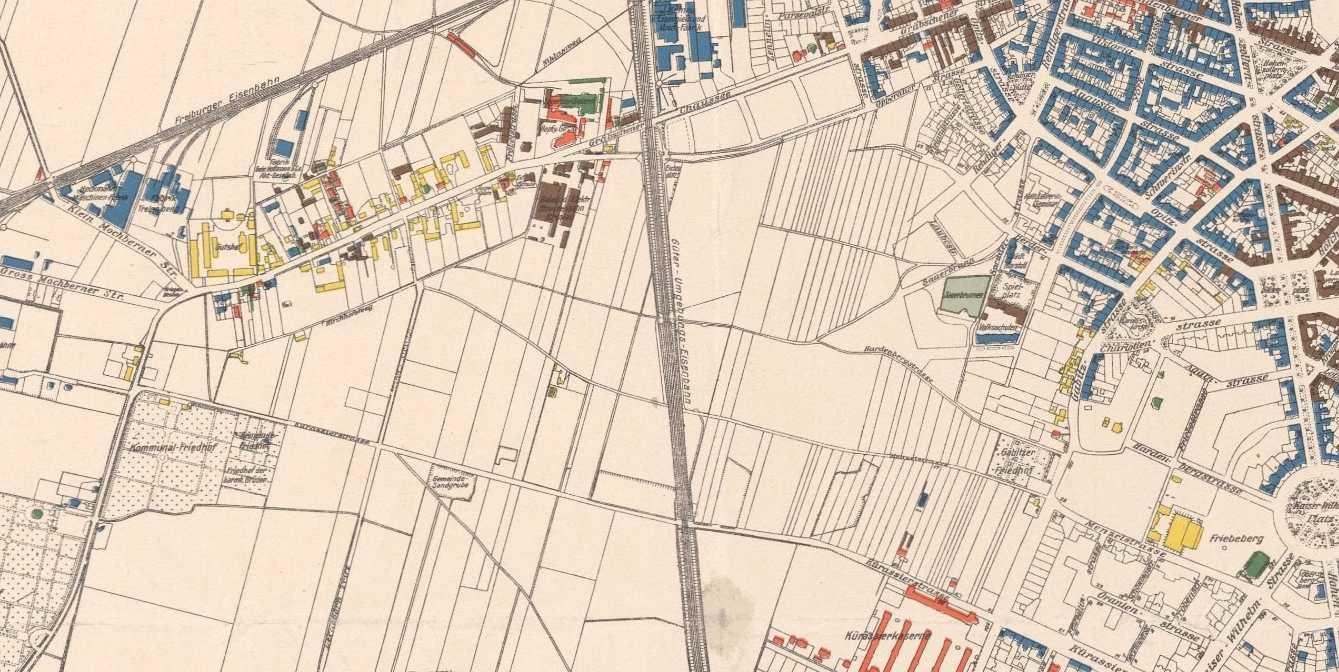 Ryc. 1. Rejon Wzgórza Gajowickiego na planie Wrocławia z 1910 r.